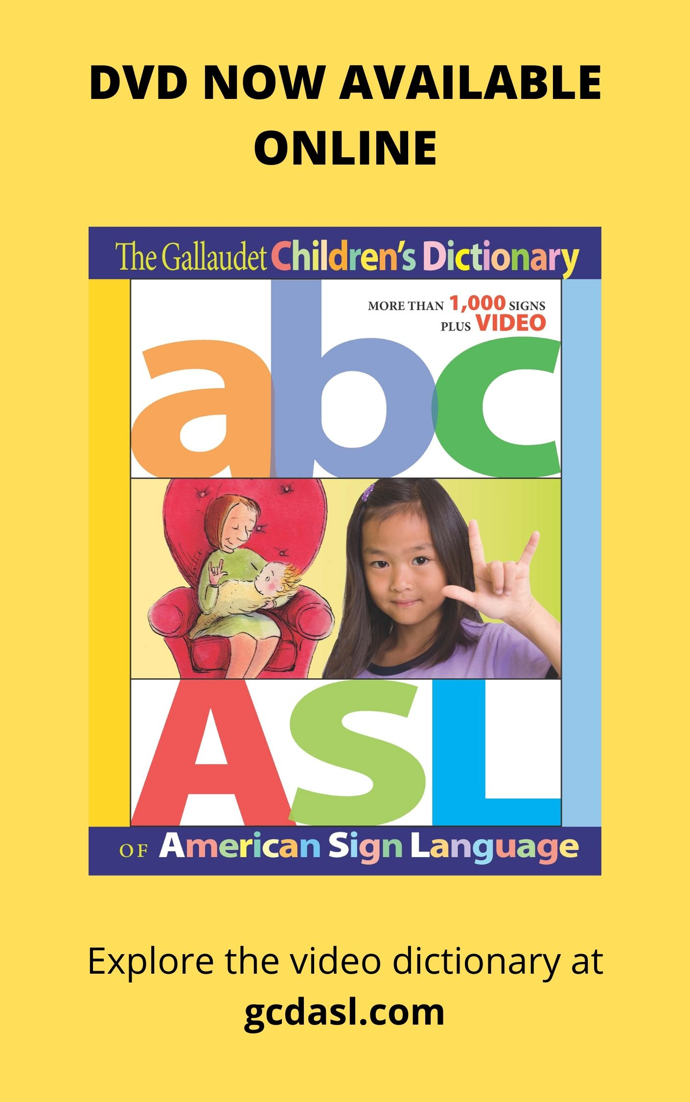 image card for The Gallaudet Children's Dictionary in American Sign Language (an ASL-English dictionary), DVD now available online at http://gcdasl.com